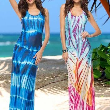 Bohemian Tie-Dye Pattern Maxi Dress, Available in Sizes S-5XL