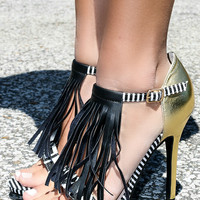 Take A Walk On The Wild Side Black Tribal Fringe Gold Heels