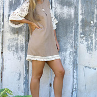 Floral Lace Sleeve Dress With Fringed