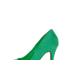 CR-01 Green Velvet Pointed Pumps