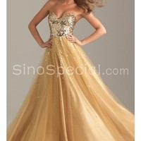 Fantastic Sweetheart Neckline Floor Length Tulle Sequined Ball Gown Prom Dress-SinoSpecial.com