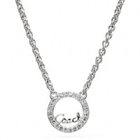 Coach :: New Sterling Coach Script Circle Necklace