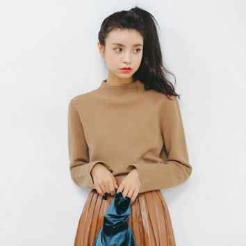Korean Knit Tops Autumn Pullover Round-neck Sweater [9022915591]