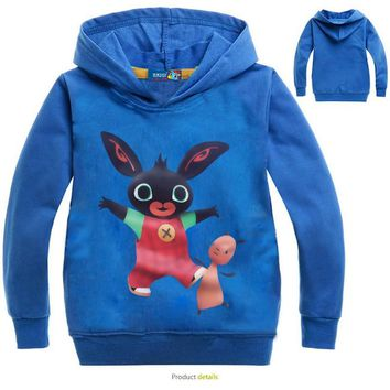 Autumn Kids British Bing Bunny Cartoon Print Hoodies Coats for Boys Rabbit Full Sleeves Hoody Sweatshirts for Children Costumes