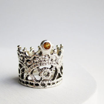 READY TO SHIP,Size6 3/4, Silver Lace Ring-Style 8 -Citrine