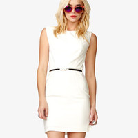 Darted Sheath Dress w/ Skinny Belt