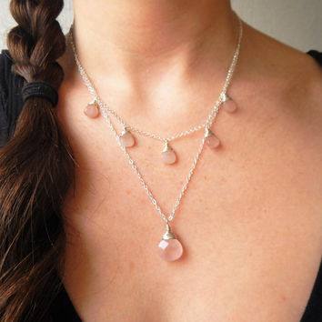 Rose Quartz and Sterling Silver Multi Strand Necklace, Layering Necklace, Bridesmaid Gift, Pink Gemstone Necklace, Boho Necklace
