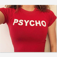 PSYCHO : letters print  short top women shirt