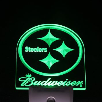 ws0155 Pittsburgh Steelers Budweiser Day/ Night Sensor Led Night Light Sign