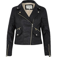 River Island Womens Black leather-look pockets biker jacket