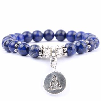 2018 Fashion Buddha Charm Bracelets For Women Men Natural Stone Bracelet Lapis Lazuli Turquoises Beaded Yoga Meditation Jewelry