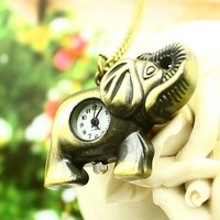 YESSTYLE: Miss Girl- Elephant Pocket Watch (Bronze - One Size) - Free International Shipping on orders over $150