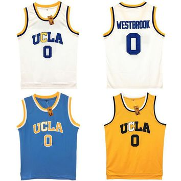 Mens Russell Westbrook #0 UCLA Bruins Blue Stitched Basketball Jersey