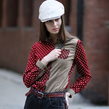 Veri Gude Polka Dot Blouse Women Button-down Corduroy Shirt Contrast