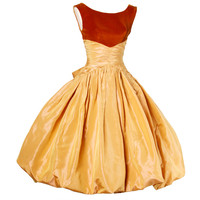 Vintage 1950s 50s Butterscotch Silk Taffeta Velvet Formal Cocktail Bubble Dress