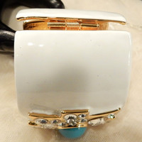 Boxing Day Sale Beautiful Vintage KJL (Kenneth Jay Lane) White  Enamel  with a Blue Acrylic Cabochon and Rhinestone Maltese Cross Cuff