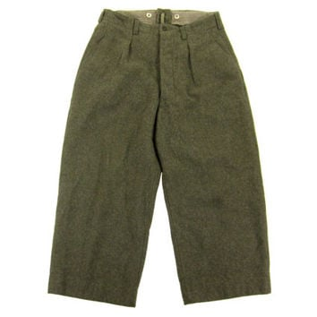 Vintage 1950's Swedish Military Trousers - Winter Wool Snow Alpine Weather Pants - Men's Size 32 Medium Med