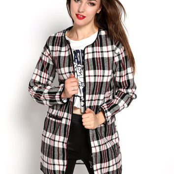 Plaid Round Neck Loose Woolen Trench Coat