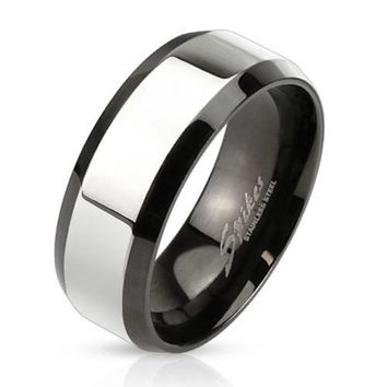 8mm Glossy Center with Beveled Edge Two Tone Stainless Steel Band Men's Ring