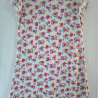 Girls Soft Knit Dress White with Red Flowers and Lettuce by vw53