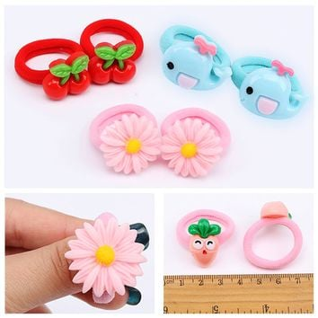 2 PCS Cute Cartoon Fruit Flower Princess Headwear Girls Headdress Hair Ropes Girls Hair Accessories Elastic Hair Bands