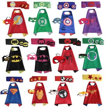 Superhero capes cape+mask+armband+waistband set - kids batman spiderman Hulk Thor robin capes cuff with belt for party cosplay