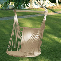 Wood Frame Natural Cotton Fabric Canvas Swing Hammock Chair  (2 DAYS SHIPPING)
