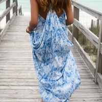Dreams In Paradise Blue & White Snakeskin Draped Back Maxi Dress