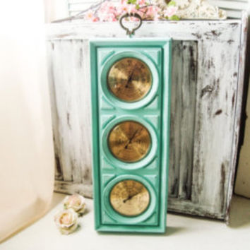 Aqua Vintage Weather Barometer, Beach Cottage  Weather Station, Springfield Humidity Meter, Shabby Chic Aqua  Wall Decor, Coastal Wall Decor