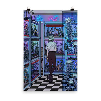 "Aquarium"" Art Print / Poster by Kelsey Smith / Amidstsilence. Limited Edition · Vaporwave. Arcade. 80s. 90. Vapourwave. Black Mirror"
