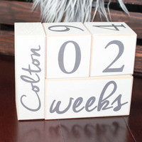 Baby Age Blocks month by month photos. Pregnancy Announcement. Wooden Age Blocks, Pregnancy photo prop, Maternity photo prop. Gifts under 30