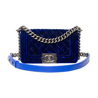 Chanel Boy Flap Bag Blue Velvet 20