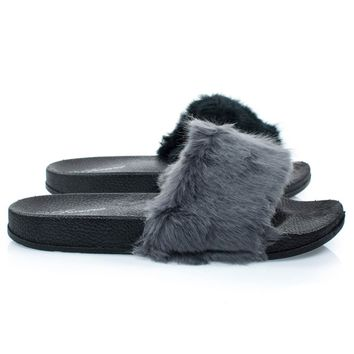 Izzy24 Gray By Forever Link, Fluffy Furry Faux Fur Single Band Slide In Slipper Sandal w Footbed Folding