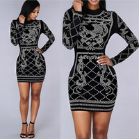 Black Long Sleeve Sequins Detail Bodycon Mini Dress