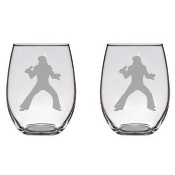 Elvis Engraved Glasses Glasses, Rock and Roll Free Personalization