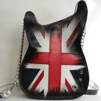 Leather purse. Handmade Eco Sustainable Leather Bag. Union Jack Guitar Shaped Bag. Handbag. LARGE Strato Bag.Crossbody Bag. Painted Purse.