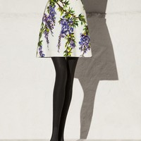 Wisteria print cotton belted skirt | dolce&gabbana online store
