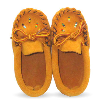 Beaded Baby Suede Leather Moccasins 120-B