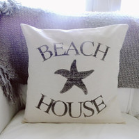 Beach House 16 x 16 Pillow Cover, summer home decor, patrioticstar fish, nautical, present, houswarming gift