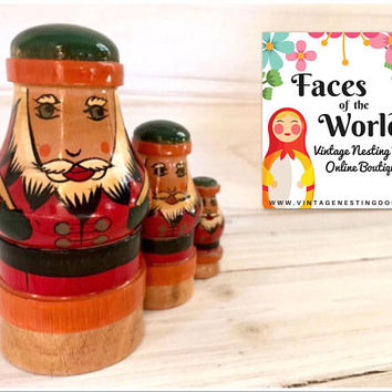 Santa Claus Nesting Doll, Christmas Nesting Dolls, Mordovia, Russia, Folk Art Wooden Doll, Unique Holiday Gift, Excellent Condition!