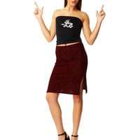Fuzzy Logic Burgundy Midi Skirt