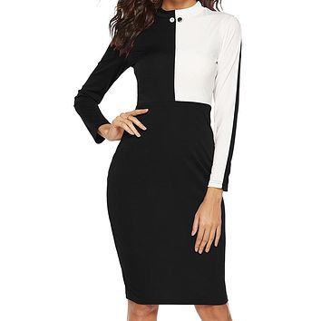 Casual turtleneck color block dress Slim long sleeve office bodycon sexy dress pullover female Ladies spring dress