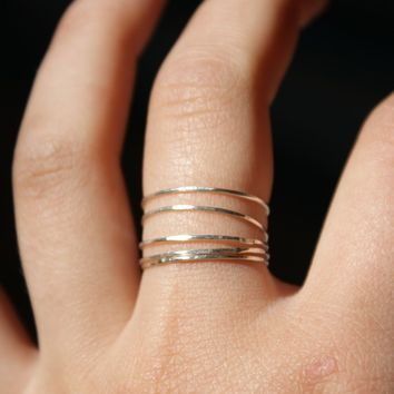 Sterling silver stacking rings set of 5 - ultra thin