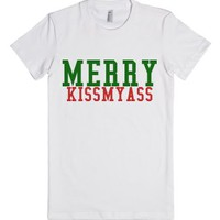 Merry Kissmyass-Female White T-Shirt