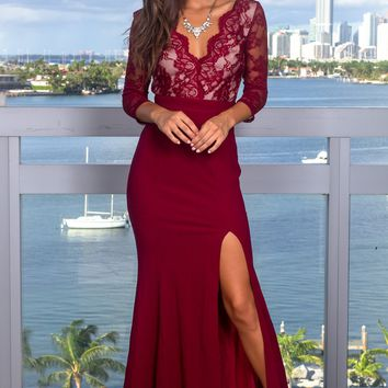 Burgundy Lace Top Maxi Dress with 3/4 Sleeves