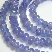 Very Fine Periwinkle Tanzanite Smooth Rondelle, Reduced from 20.00, 4.5 Inch strand, 2.5-3mm
