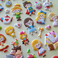 Puffy Fairy tale collection sticker cartoon story stickers vintage story Grimm cute princess icon sticker little red riding hood peter pan