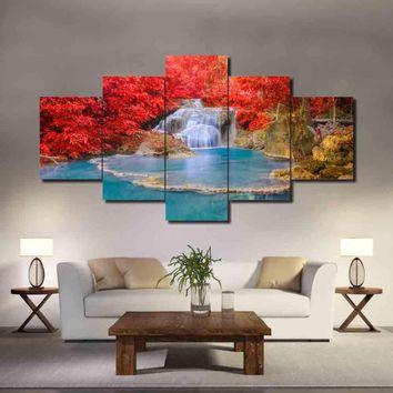 Waterfall Water Pond Red Tree Landscape Living Room Modular Wall Art 5 Panel