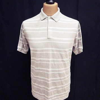 Vintage 1970s American Grey Stripy Grunge Indie Polo Shirt Large