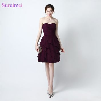 2017 Short Bridesmaid Dresses Chiffon Knee Length Dark Purple Cheap On Sale Ruffles Wedding Event Brides Maid Dress Under 60